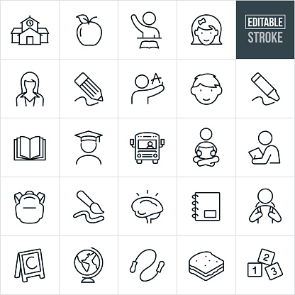 Elementary Education Thin Line Icons - Editable Stroke