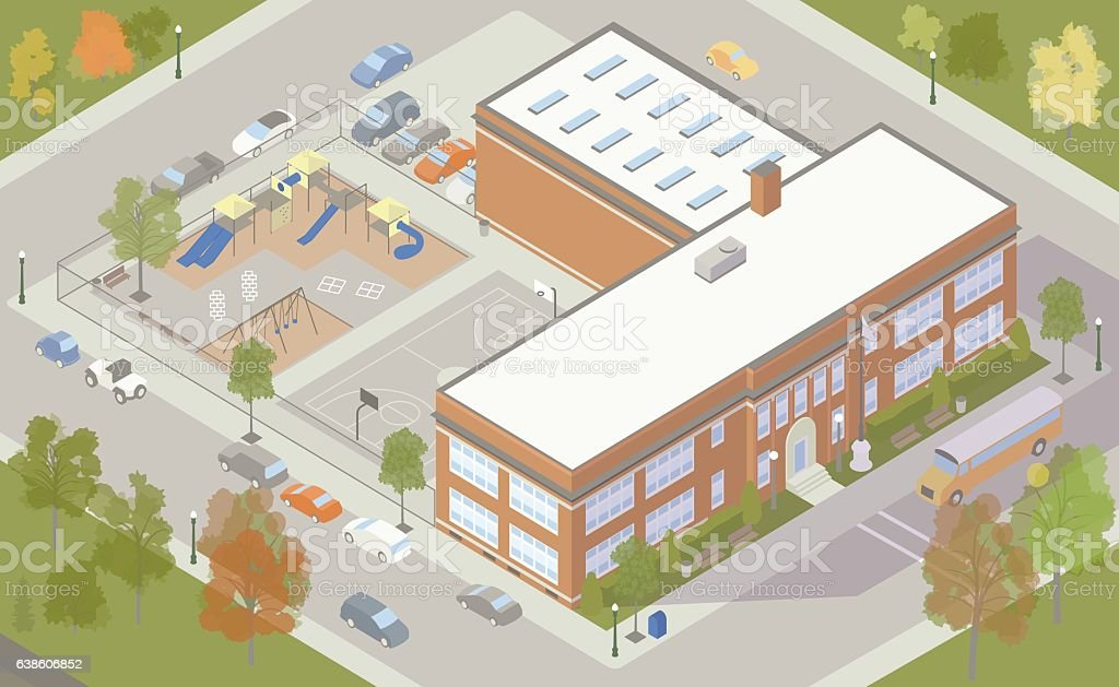 Elementary School Building Illustration royalty-free elementary school building illustration stock vector art & more images of above