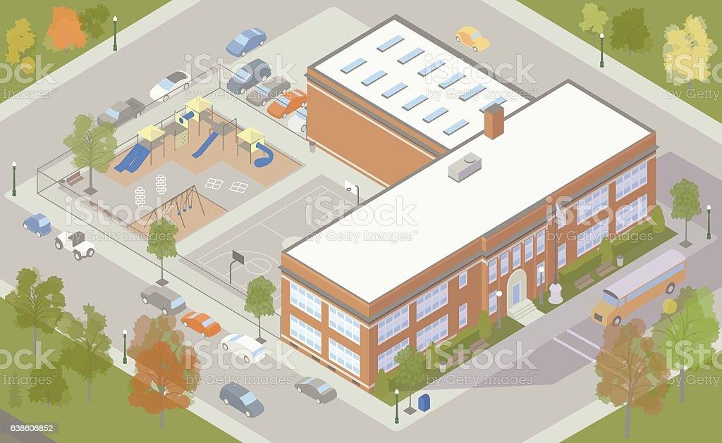 Elementary School Building Illustration vector art illustration