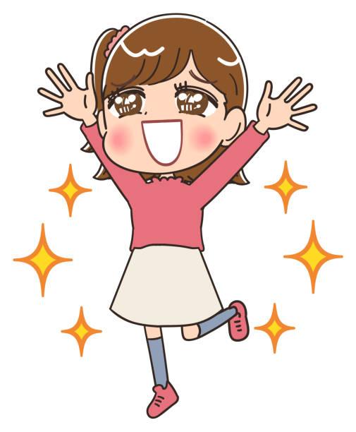 bildbanksillustrationer, clip art samt tecknat material och ikoner med elementär skolflicka i rosa kläder. hon har positiva känslor. - sparkle teen girl