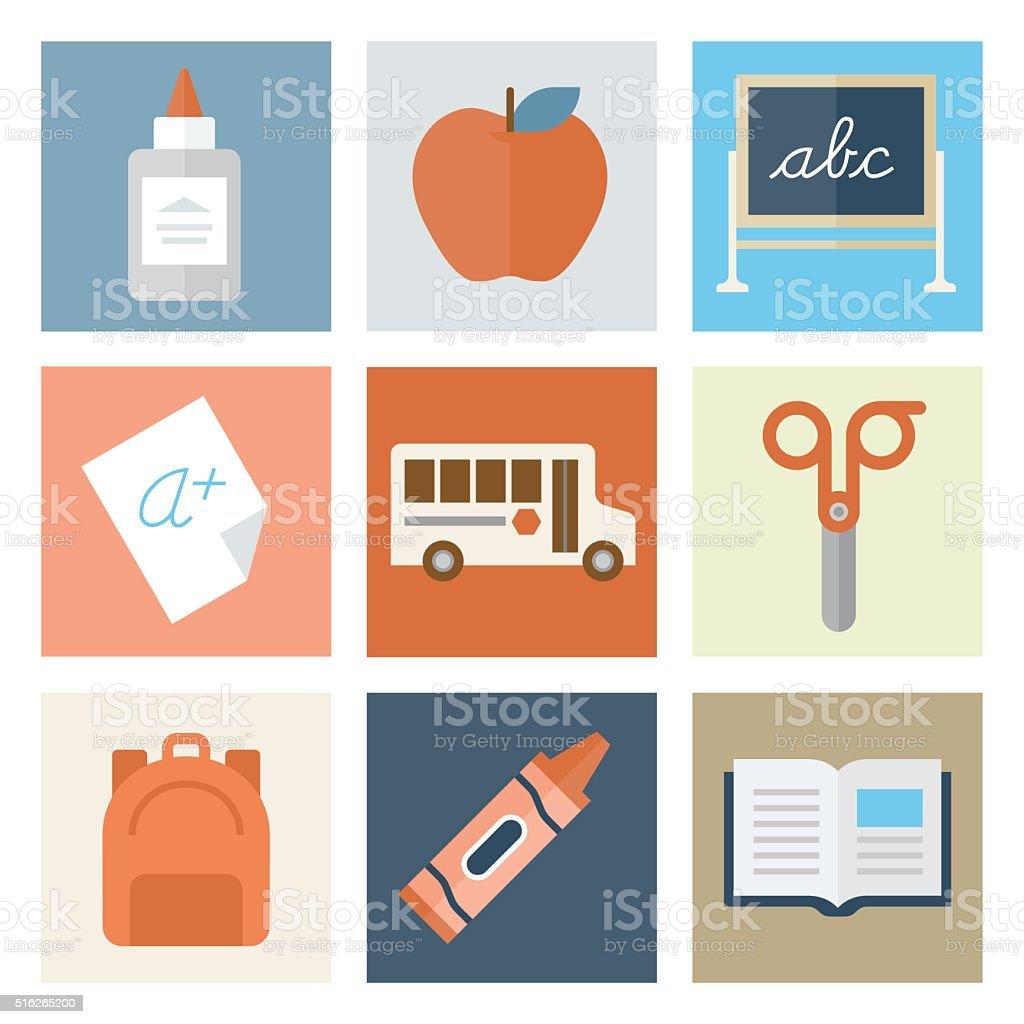 Elementary School Icons — Flat Series vector art illustration