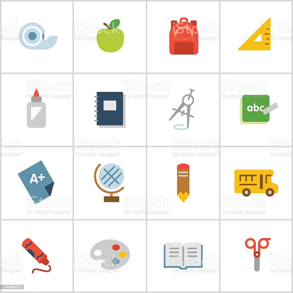 Elementary School Icons — Poly Series vector art illustration