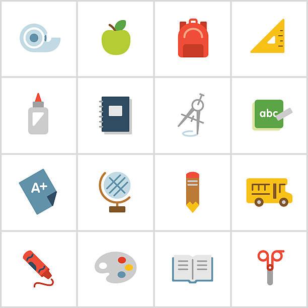 illustrations, cliparts, dessins animés et icônes de école primaire icônes, série de polyester - niveau primaire