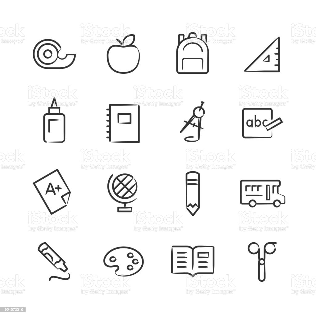 Elementary School Icons Sketchy Series Immagini Vettoriali Stock E