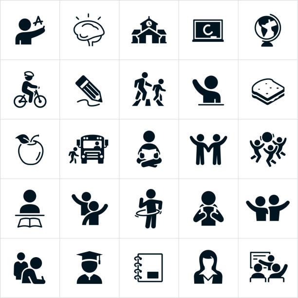 illustrazioni stock, clip art, cartoni animati e icone di tendenza di icone delle scuole elementari - scuola