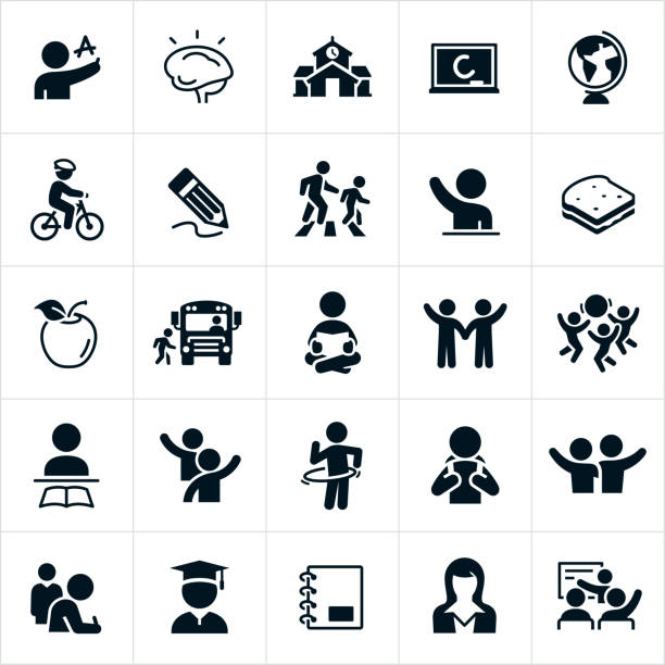 Elementary School Icons A set of elementary education icons. The icons include children learning, a child writing the letter of the alphabet, a brain, a chalkboard, a globe, a child riding a bike, a pencil, a parent and child in a crosswalk, a child raising his hand, a sandwich, an apple, a child getting on a school bus, a child reading, children playing with a ball, a child with a backpack, two children waving, two children with there arms around each other, a graduate, a notebook and a teacher. school building stock illustrations