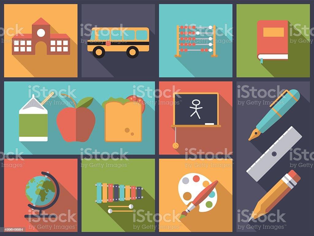 Elementary school icons vector illustration. vector art illustration