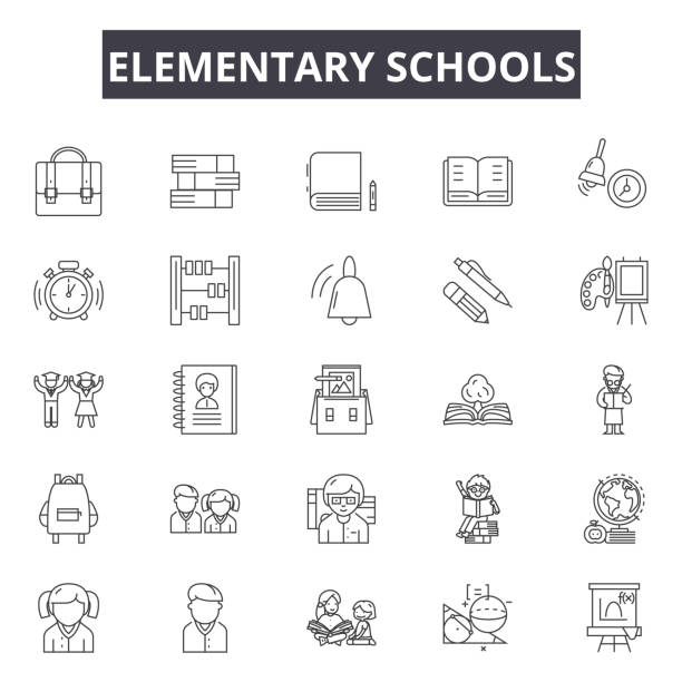 Elementary school line icons for web and mobile design. Editable stroke signs. Elementary school  outline concept illustrations Elementary school line icons for web and mobile. Editable stroke signs. Elementary school  outline concept illustrations elementary school teacher stock illustrations