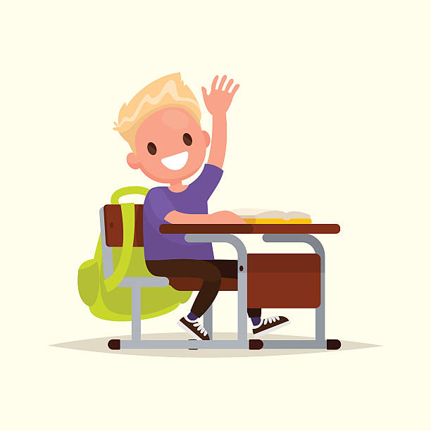 elementary school student. a schoolboy raises his hand to answer - class stock illustrations
