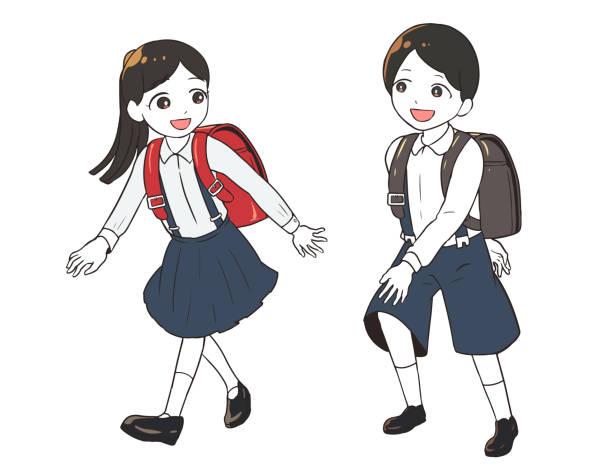 illustrazioni stock, clip art, cartoni animati e icone di tendenza di elementary school student in uniform - two students together asian