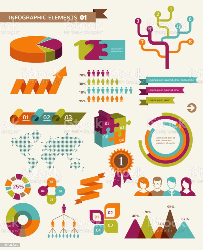 Elements and icons of infographics vector art illustration