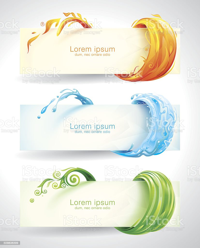 Elements Banners vector art illustration