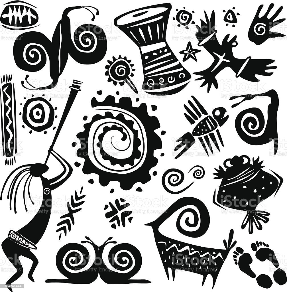 Elements for designing primitive art royalty-free stock vector art