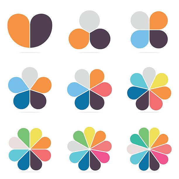 인포그래픽을 위한 요소입니다. 파이 차트, 2- 10 꽃잎다이어그램. - 꽃잎 stock illustrations