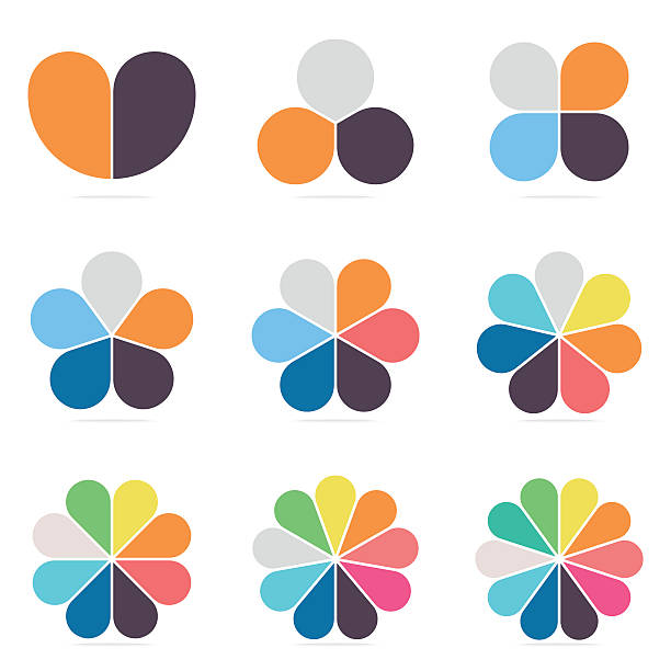 elements for infographics. pie charts, diagrams with 2- 10 petals. - three shapes stock illustrations, clip art, cartoons, & icons