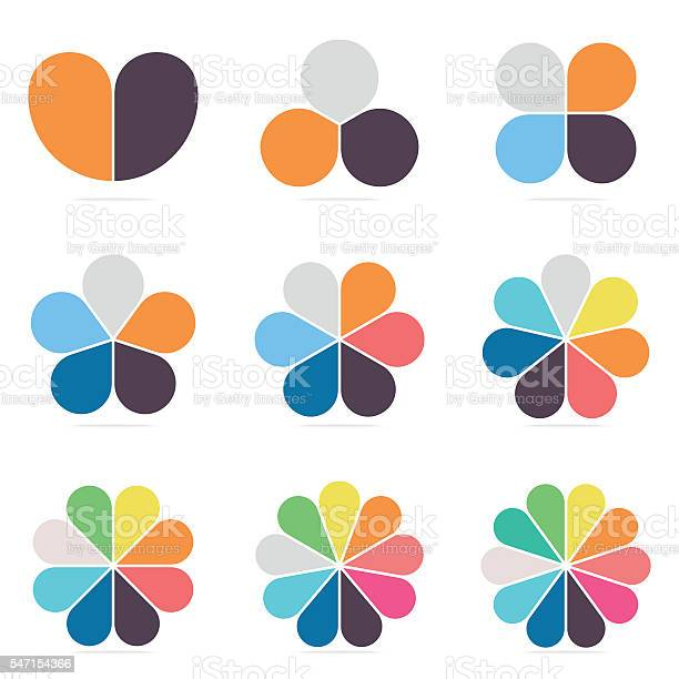 Elements for infographics. Pie charts, diagrams with 2 3 4 5 6 7 8 9 10 parts Vector design templates