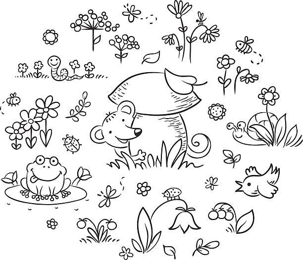 Elements for Kids Designs, Outline vector art illustration