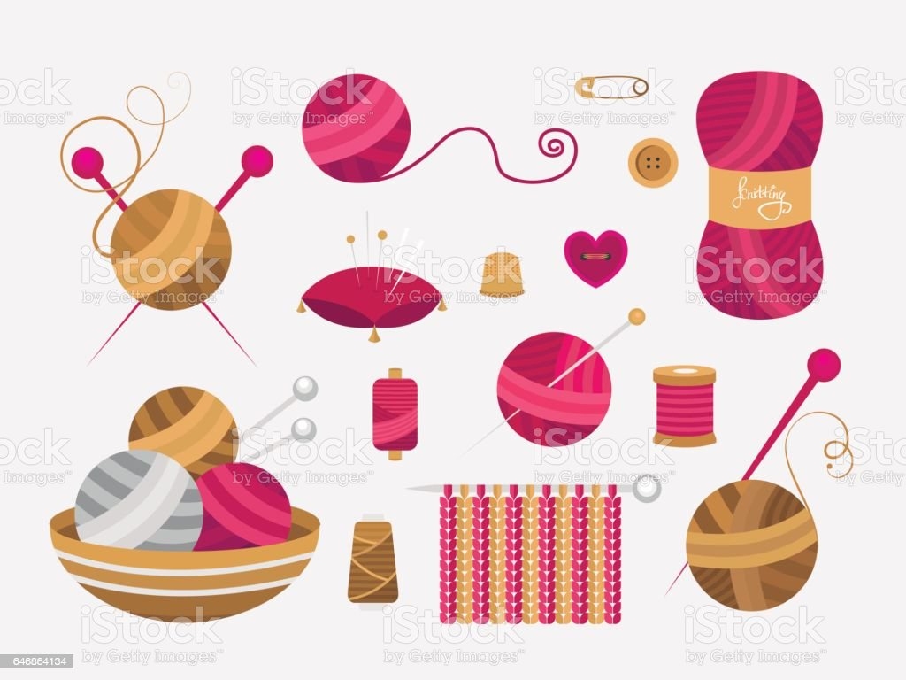 Elements for knitting and sewing. vector art illustration