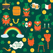 Elements for St. Patrick s Day. Set with leprechauns, horseshoe, clover, beer, barrel, beards, golden pot, rainbow. Cartoon illustration for pub invitation, t-shirt design, card, decor