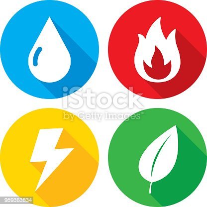 Vector illustration of a set of multi-colored element icons in flat style.