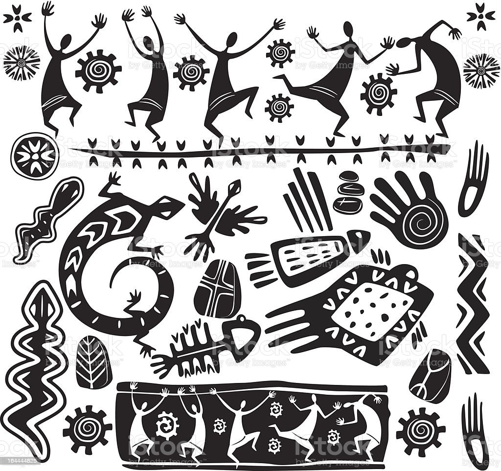 Elements in the style of primitive art royalty-free stock vector art