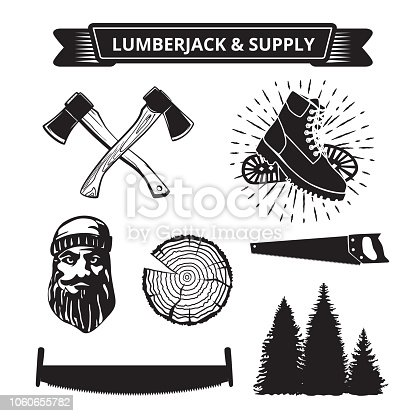 Elements of a lumberjack and sawmill isolated on white . Vector .