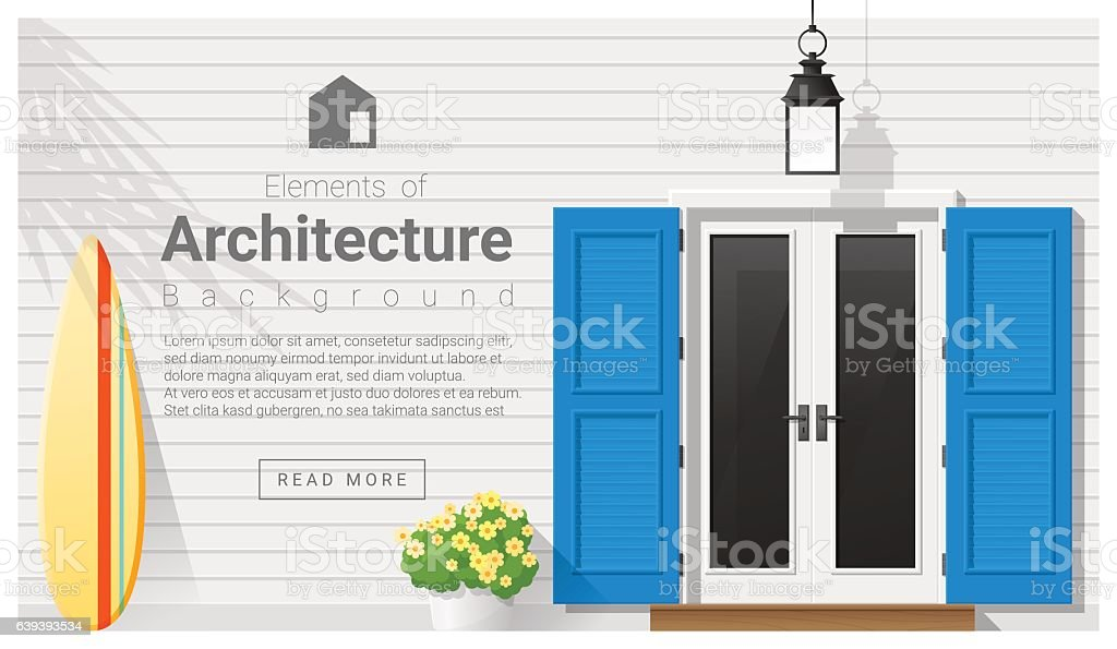 Elements of architecture , front door background 13 vector art illustration