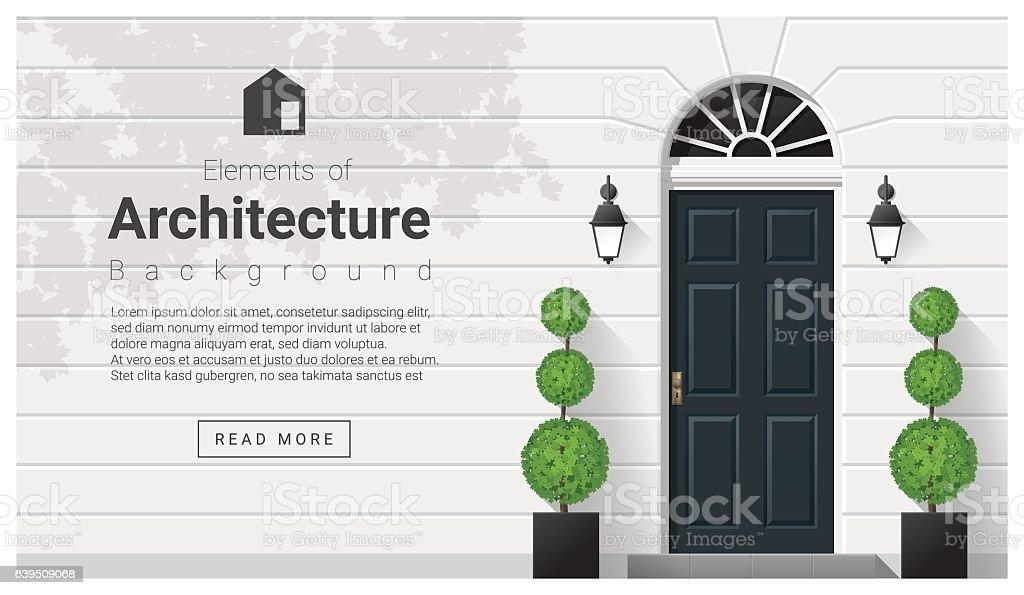 front door clipart. Elements Of Architecture , Front Door Background 15 Vector Art Illustration Clipart C