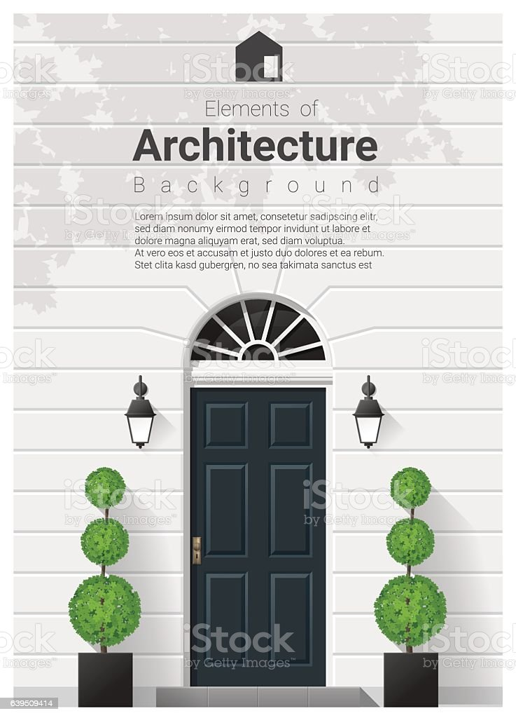 Elements of architecture , front door background 16 vector art illustration