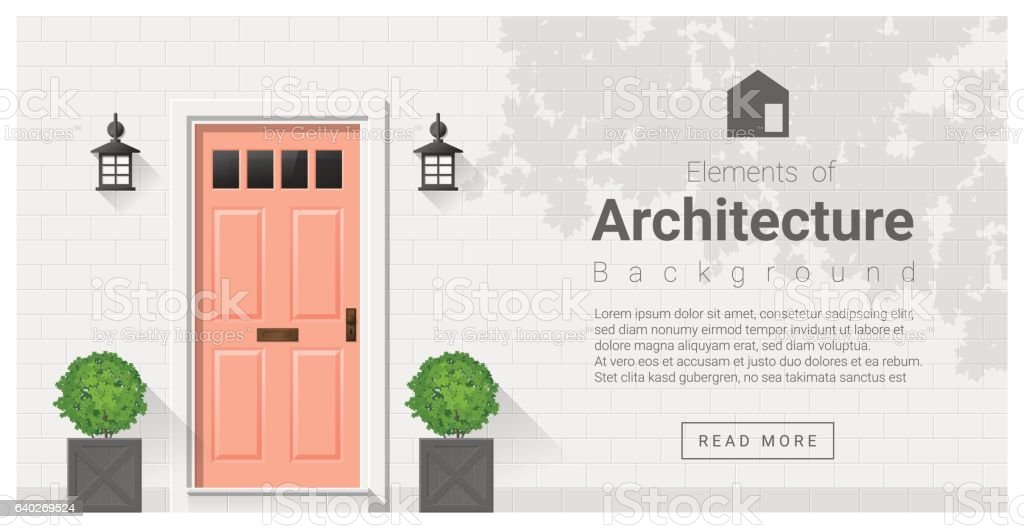 Elements of architecture , front door background 19 vector art illustration