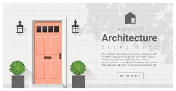 elements of architecture , front door background 19 - 입구 건축물 특징 stock illustrations