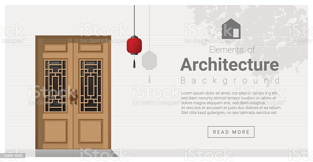 Elements of architecture , front door background 5 vector art illustration