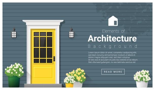 ilustraciones, imágenes clip art, dibujos animados e iconos de stock de elementos de arquitectura, puerta de fondo, vector, ilustración - nueva casa