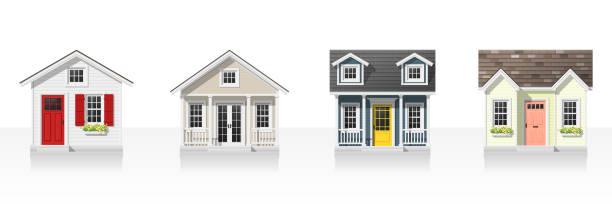 ilustrações, clipart, desenhos animados e ícones de elementos de arquitetura, com pequenas casas isoladas no fundo branco, vetorial, ilustração - exterior
