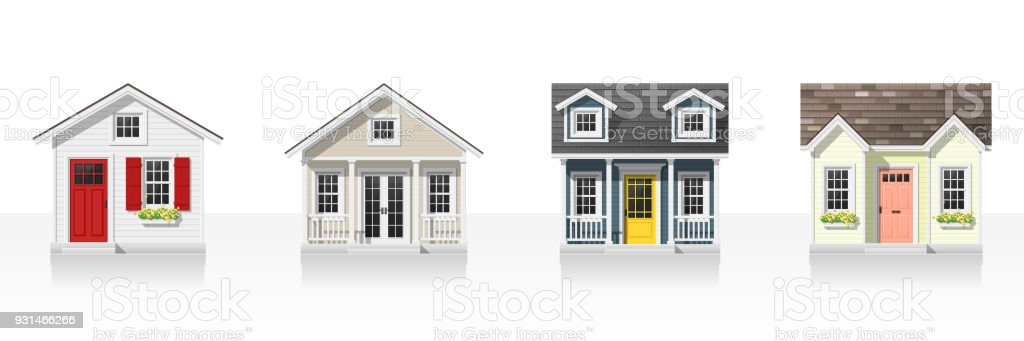 Elements of architecture with small houses isolated on white background , vector ,illustration vector art illustration