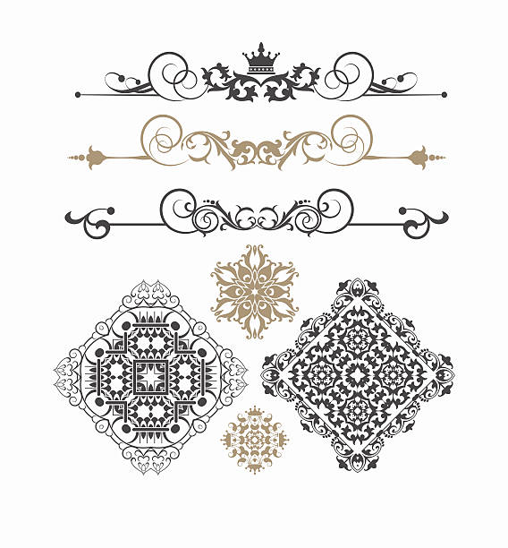 elements of design vintage style vector image - gothic fashion stock illustrations, clip art, cartoons, & icons