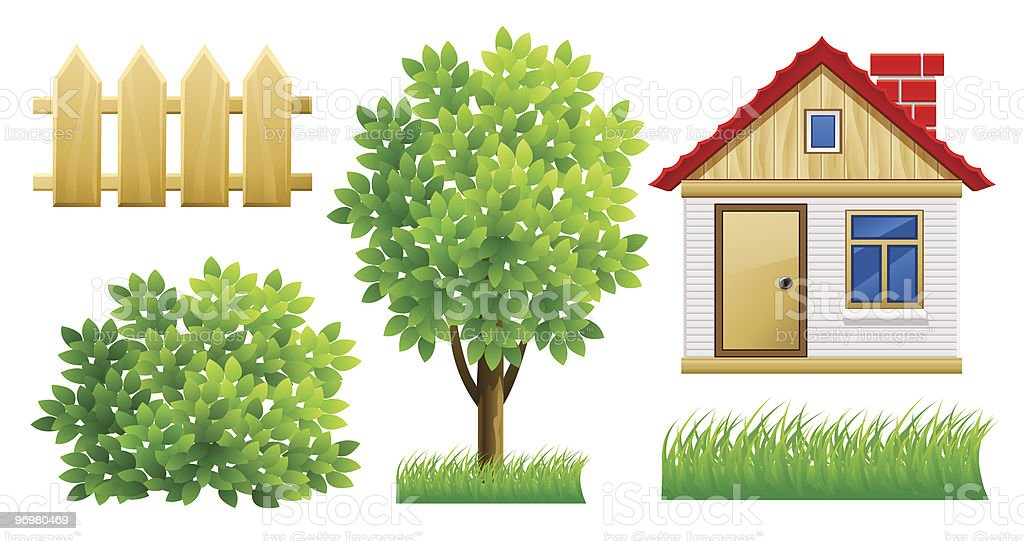 elements of green garden with house and fence vector art illustration