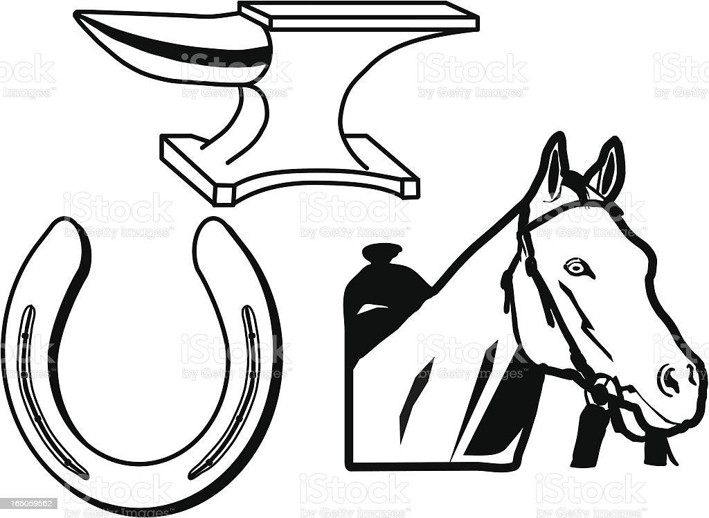Elements of Horseshoeing vector art illustration