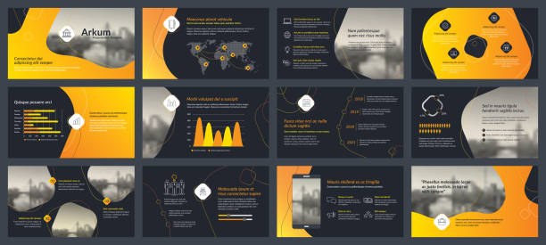 ilustraciones, imágenes clip art, dibujos animados e iconos de stock de elementos de la infografía para plantillas de presentaciones - infografías de redes sociales