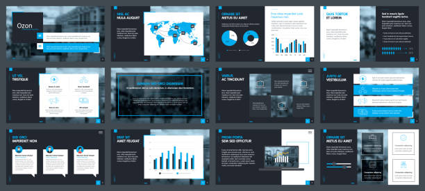 elements of infographics for presentations templates - annual reports templates stock illustrations