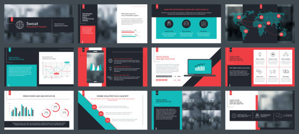 Elements of infographics for presentations templates Elements of infographics for presentations templates. Annual report, leaflet, book cover design. Brochure layout, flyer template design. Corporate report, advertising template in vector Illustration. presentation stock illustrations