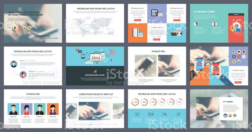 Elements of infographics for presentations templates - ilustração de arte vetorial