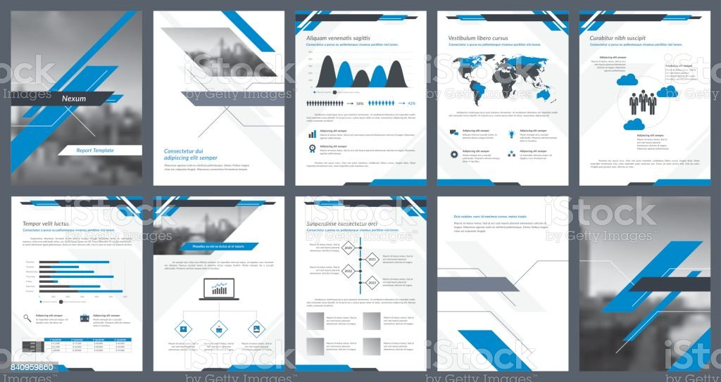Elements of infographics for report template and presentations templates vector art illustration