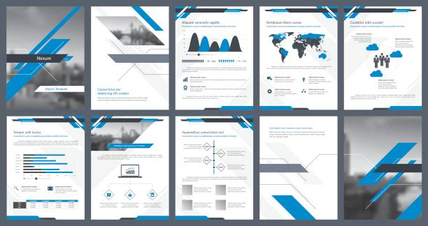 elements of infographics for report template and presentations templates - brochure templates stock illustrations, clip art, cartoons, & icons