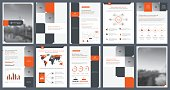 Elements of infographics for report template and presentations templates