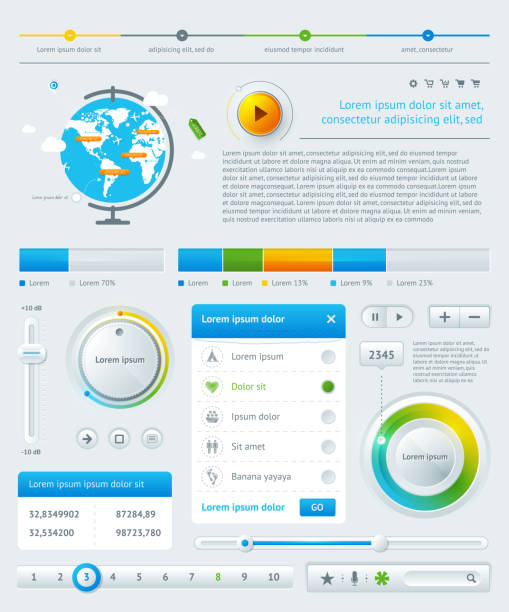 elements of infographics with buttons and menus - sınır kamusal alan stock illustrations