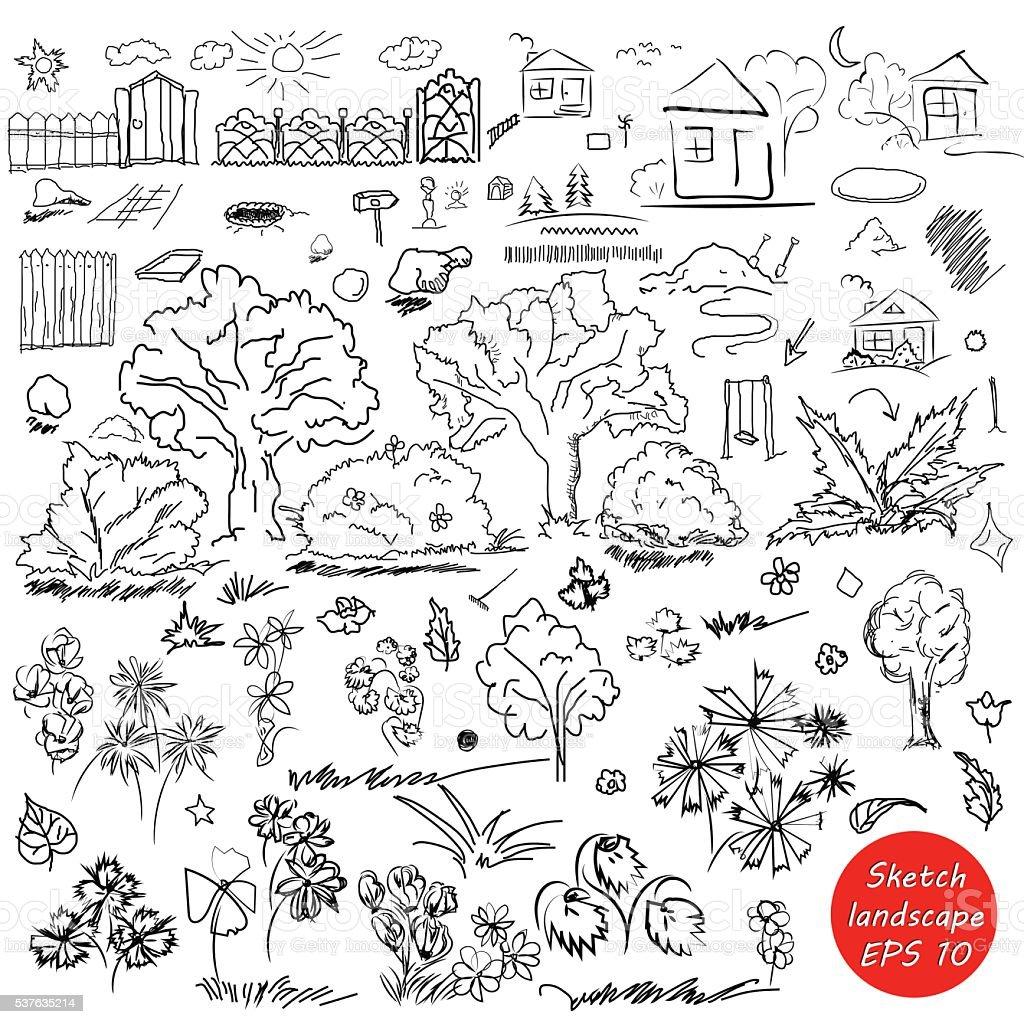 Ilustración de Elementos Del Paisaje En Resumen Doodle Boceto ...