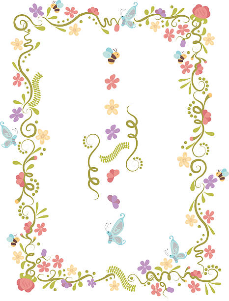 Elements of Springs Floral border formed from Spring elements. bee borders stock illustrations