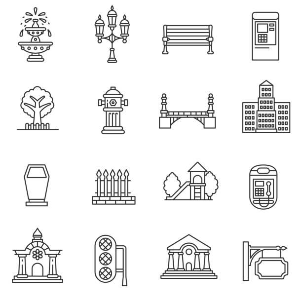 elements of the city icons set. editable stroke - fontanna stock illustrations