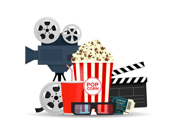 Elements of the film industry isolated on white background. Composition with popcorn, clapperboard, 3d glasses and filmstrip. Cinema banner design. vector art illustration